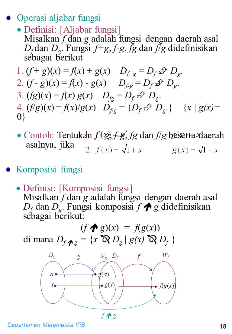 Operasi aljabar fungsi  Definisi: [Aljabar fungsi]